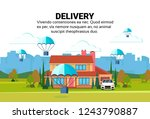 package flying parachutes fast... | Shutterstock .eps vector #1243790887
