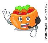 with headphone pita bread...   Shutterstock .eps vector #1243795417