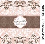pink vintage damask invitation... | Shutterstock .eps vector #124381387