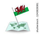 map with flag of wales isolated ...