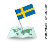 map with flag of sweden...