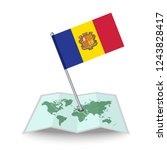 map with flag of andorra...