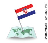 map with flag of croatia...