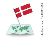 map with flag of denmark...