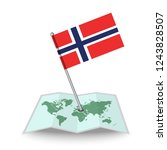 map with flag of norway...