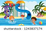children playing at water park... | Shutterstock .eps vector #1243837174