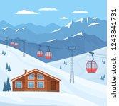 ski resort with red ski cabin... | Shutterstock .eps vector #1243841731