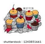 doodle art with berry and... | Shutterstock .eps vector #1243851661