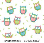 seamless pattern with colorful... | Shutterstock .eps vector #124385869