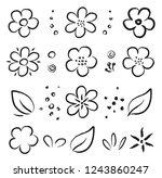 cartoon hand drawn summer...   Shutterstock . vector #1243860247