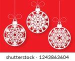 vector snowflake ball laser cut ... | Shutterstock .eps vector #1243863604