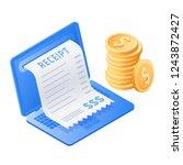 the laptop  online bill payment ... | Shutterstock . vector #1243872427