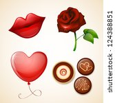 valentine s day icons set | Shutterstock .eps vector #124388851