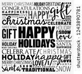 happy holidays word cloud... | Shutterstock .eps vector #1243890781