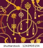 fashion print with keys  chains ... | Shutterstock .eps vector #1243905154