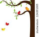 bird tree vector | Shutterstock .eps vector #124391005