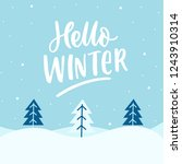 winter landscap with hand drawn ... | Shutterstock .eps vector #1243910314