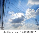 electric pole power lines and... | Shutterstock . vector #1243932307