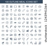 meal icons. set of 100 outline... | Shutterstock .eps vector #1243941364