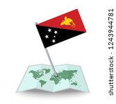 map with flag of papua new...