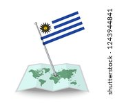 map with flag of uruguay...
