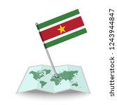 map with flag of suriname...