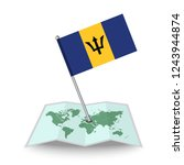 map with flag of barbados...