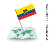 map with flag of ecuador...