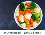 boiled carrots  broccoli ... | Shutterstock . vector #1243957864