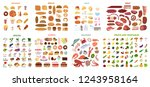 all food set. meat and... | Shutterstock . vector #1243958164