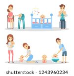 baby with parents set. feeding... | Shutterstock . vector #1243960234