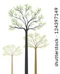 artistic wood with 3 trees ... | Shutterstock .eps vector #124397149