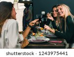 vegetarian restaurant. young...   Shutterstock . vector #1243975441