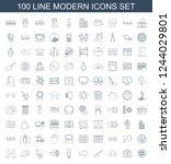 modern icons. set of 100 line... | Shutterstock .eps vector #1244029801