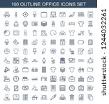 Stock vector office icons set of outline office icons included paper resume trash bin printer pen 1244032261