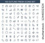 fresh icons. set of 100 outline ...   Shutterstock .eps vector #1244032324