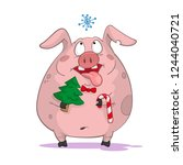 cartoon pig christmas character ... | Shutterstock .eps vector #1244040721