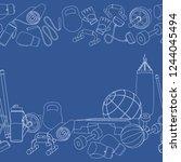 seamless borders of fitness... | Shutterstock .eps vector #1244045494