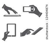 set of hands holding smart... | Shutterstock .eps vector #124404874