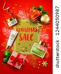 christmas sale vector card.... | Shutterstock .eps vector #1244050987