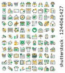 shopping colored vector icons | Shutterstock .eps vector #1244061427