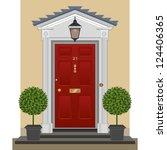 door. traditional georgian red...   Shutterstock . vector #124406365