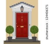 door. traditional georgian red... | Shutterstock .eps vector #124406371