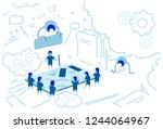 tablet screen planning strategy ... | Shutterstock .eps vector #1244064967