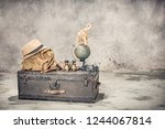 vintage old classic travel... | Shutterstock . vector #1244067814