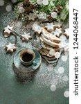 christmas cake stollen  coffee  ...   Shutterstock . vector #1244068447