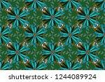 vibrant floral pattern blossom... | Shutterstock . vector #1244089924