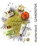 christmas sale vector poster.... | Shutterstock .eps vector #1244090704