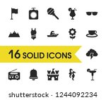 season icons set with mountain  ...