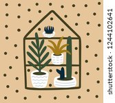 home plants and succulents hand ... | Shutterstock .eps vector #1244102641